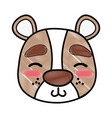 grated shy bear head wild animal vector image vector image