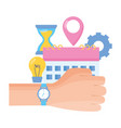 hand with watch work time vector image vector image