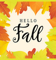 hello fall banner template with bright leaves vector image vector image