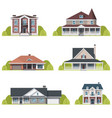 houses set suburban american houses exterior flat vector image vector image