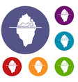 iceberg icons set vector image vector image