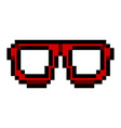 isolated pixelated glasses icon vector image