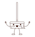 kawaii cartoon broom with wooden stick in brown vector image vector image