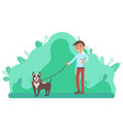 man walking puppy on leash person in spring park vector image