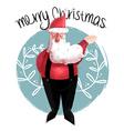Merry christmas of cute santa claus vector image