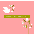 Mothers day cards with dove spring flowers vector image vector image