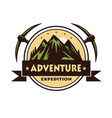 mountain rock climbing adventure logo vector image