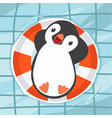 penguin swimming at the pool vector image vector image