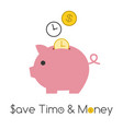 piggy bank with golden coin vector image vector image
