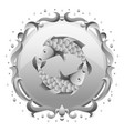pisces zodiac sign with silver frame horoscope vector image vector image