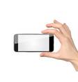 realistic hand holding mobile phone isolated on vector image vector image