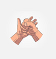 realistic hands - gestures hand painted fist on vector image vector image
