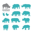 rhino silhouettes vector image