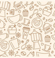 Seamless pattern for coffee theme line art draw