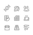 set line icons cacao and chocolate vector image vector image