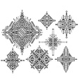Set of seven tribal art boho hand drawn geometric vector image