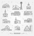 Set of thin line icon suburban american