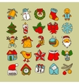 set sketch drawing christmas doodle icons vector image