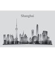 Shanghai city skyline silhouette in grayscale vector image vector image