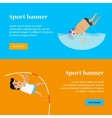 Swimming and Pole Vault Sports Banners vector image vector image