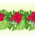 tropical border seamless background bouquet with vector image vector image