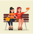 two girls sit on a bench and take selfies vector image