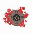 vintage retro style clock poppy flower decor vector image vector image