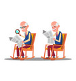 visually impaired elderly man reading a book vector image