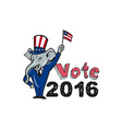 vote 2016 republican mascot waving flag cartoon vector image vector image