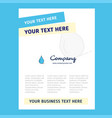 water drop title page design for company profile vector image