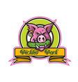 wild hog biting pickle circle mascot vector image vector image