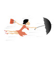 windy day and young woman with umbrella isolated vector image vector image