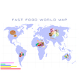World Map with Fast Food and Take Away Food vector image vector image