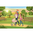young family walking with kids in park vector image
