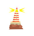 striped red and white lighthouse cartoon vector image