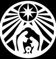 Holy family Christian silhouette icon on black vector image