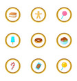 sweet dessert icons set cartoon style vector image