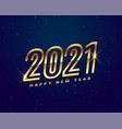 2021 happy new year golden shiny greeting vector image