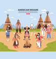 american indians poster vector image vector image