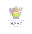 baby care logo design emblem with colorful vector image vector image