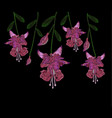 beautiful lilac flowers fuchsia embroidery jeans vector image vector image