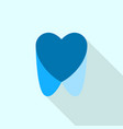 blue dental heart logo icon flat style vector image vector image