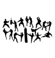 boxer silhouettes vector image vector image
