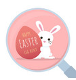 bunny behind easter egg with magnifying glass vector image vector image