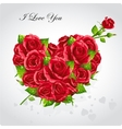 Card for Valentines Day Heart of red roses vector image vector image