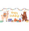 Celebratory card with funny llama and bear holding