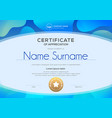 certificate template with oval shape on blue vector image vector image