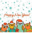 christmas background with funny owls vector image vector image