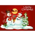 christmas snowman with lantern greeting card vector image