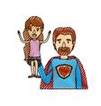 color crayon stripe caricature half body super dad vector image vector image